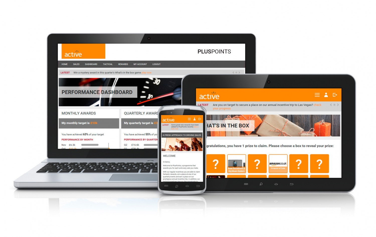 PlusPoints online incentive platform - for desktop, laptop, tablet and mobile